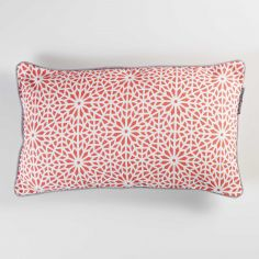 Tunis Geometric 100% Cotton Cushion with Piping - Coral Orange