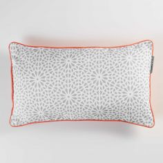 Tunis Geometric 100% Cotton Cushion with Piping - Silver Grey