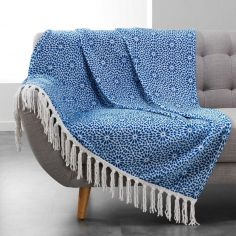 Tunis Flannel Throw with Geometric Print and Tassels - Indigo Blue