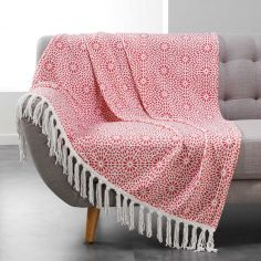 Tunis Flannel Throw with Geometric Print and Tassels - Coral Orange