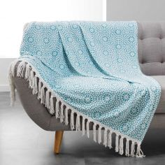 Tunis Flannel Throw with Geometric Print and Tassels - Mint Blue