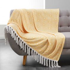 Tunis Flannel Throw with Geometric Print and Tassels - Yellow
