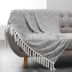 Tunis Flannel Throw with Geometric Print and Tassels - Charcoal Grey