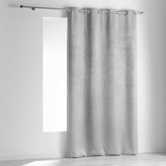 Dreamtime Embossed Velvet Blackout Single Curtain Panel with Eyelets - Silver Grey