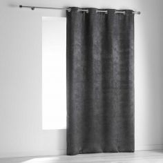 Dreamtime Embossed Velvet Blackout Single Curtain Panel with Eyelets - Charcoal Grey