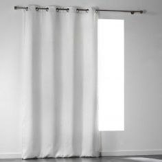 Noctua Embossed Velvet Blackout Single Curtain Panel with Eyelets - White