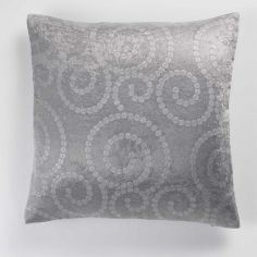Noctua Embossed Velvet Cushion Cover - Silver Grey