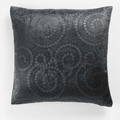 Noctua Embossed Velvet Cushion Cover - Charcoal Grey