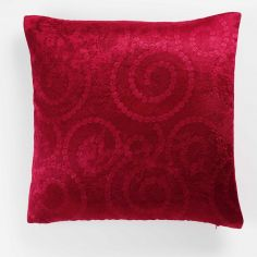 Noctua Embossed Velvet Cushion Cover - Red
