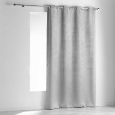 Opacia Embossed Velvet Blackout Single Curtain Panel with Eyelets - Silver Grey