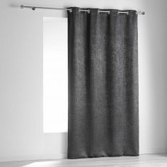 Opacia Embossed Velvet Blackout Single Curtain Panel with Eyelets - Charcoal Grey