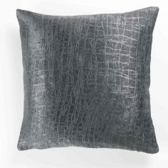 Opacia Embossed Velvet Cushion Cover - Charcoal Grey