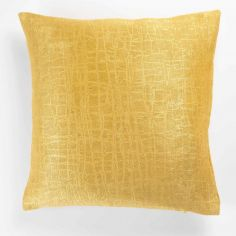 Opacia Embossed Velvet Cushion Cover - Ochre Yellow