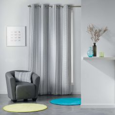 Analea Striped Single Curtain Panel with Eyelets - Black & White