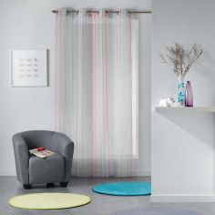 Analea Stripe Voile Curtain Panel with Eyelets - Multicolour