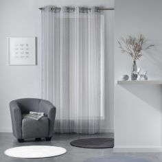 Analea Stripe Voile Curtain Panel with Eyelets - Black & White