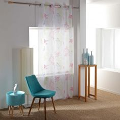 Oisillon Multicoloured Voile Curtain Panel with Eyelet Top