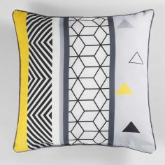 Yellow Mix Geometric Print Filled Cushion with Piping