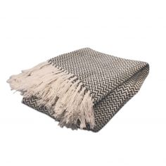 Zig Zag 100% Cotton Tasselled Throw - Silver Grey