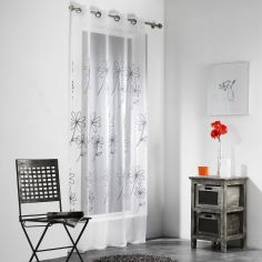 Milo Silver Embroidered Eyelet Voile Panel - White