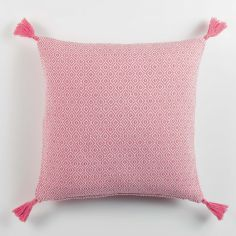 Merina Woven Cotton Geometric Pom Pom Cushion Cover - Coral Pink