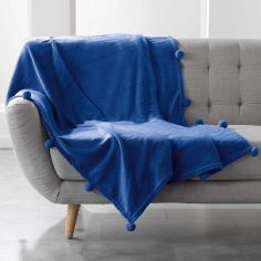 Poupidou Pom Pom Fleece Throw - Indigo Blue