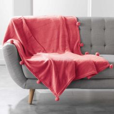 Poupidou Pom Pom Fleece Throw - Coral Red