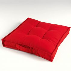 Paolo Plain 100% Cotton Floor Chair Booster Cushion - Red
