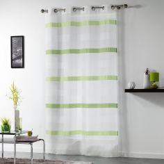 Ariane Eyelet Voile Curtain Panel with Sandblasted Stripes - White & Green