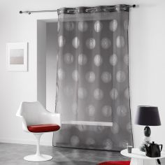 Atome Silver Printed Eyelet Voile Curtain Panel - Charcoal Grey