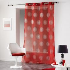 Atome Silver Printed Eyelet Voile Curtain Panel - Red