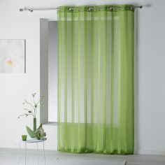 Bandas Eyelet Voile Curtain Panel with Vertical Stripes - Green
