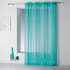 Bandas Eyelet Voile Curtain Panel with Vertical Stripes - Ocean Blue