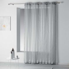 Bandas Eyelet Voile Curtain Panel with Vertical Stripes - Grey