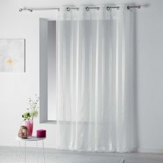Bandas Eyelet Voile Curtain Panel with Vertical Stripes - White