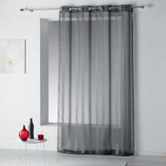 Bandas Eyelet Voile Curtain Panel with Vertical Stripes - Charcoal Grey
