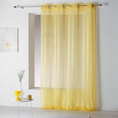Bandas Eyelet Voile Curtain Panel with Vertical Stripes - Yellow