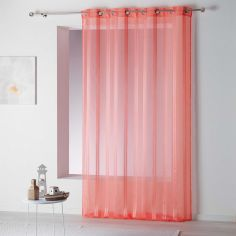 Bandas Eyelet Voile Curtain Panel with Vertical Stripes - Coral Pink