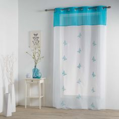 Chrysalide Butterfly Eyelet Voile Curtain - Blue
