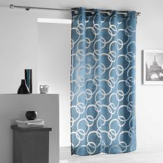 Curvy Crushed Look Eyelet Voile Curtain Panel - Blue