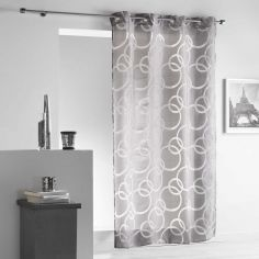 Curvy Crushed Look Eyelet Voile Curtain Panel - Grey