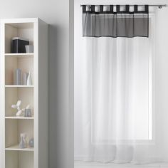 Duo Two-Tone Tab Top Voile Curtain Panel - White & Black