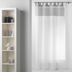 Duo Two-Tone Tab Top Voile Curtain Panel - White & Grey