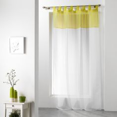 Duo Two-Tone Tab Top Voile Curtain Panel - White & Chartreuse Yellow