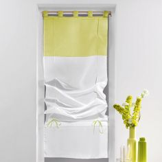 Duo Two-Tone Tie Up Voile Blind with Tab Top - White & Chartreuse Yellow
