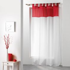 Duo Two-Tone Tab Top Voile Curtain Panel - White & Red