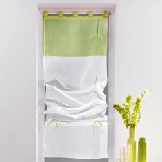 Duo Two-Tone Tie Up Voile Blind with Tab Top - White & Lime Green