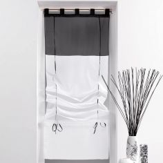 Duo Two-Tone Tie Up Voile Blind with Tab Top - White & Black