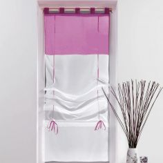 Duo Two-Tone Tie Up Voile Blind with Tab Top - White & Purple