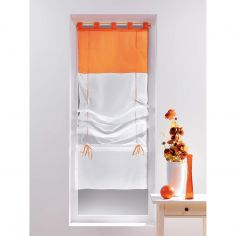 Duo Two-Tone Tie Up Voile Blind with Tab Top - White & Orange